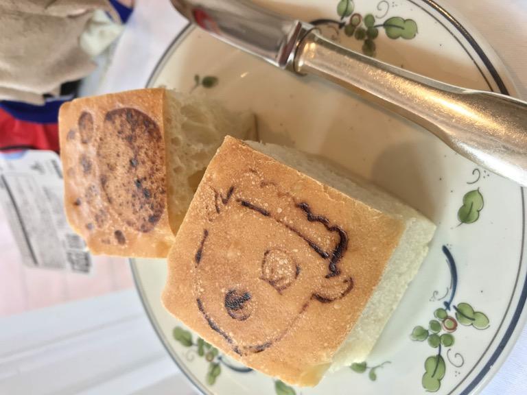 淡島ホテル シャイニーランチ 熊手&マンボウの焼印入りパン