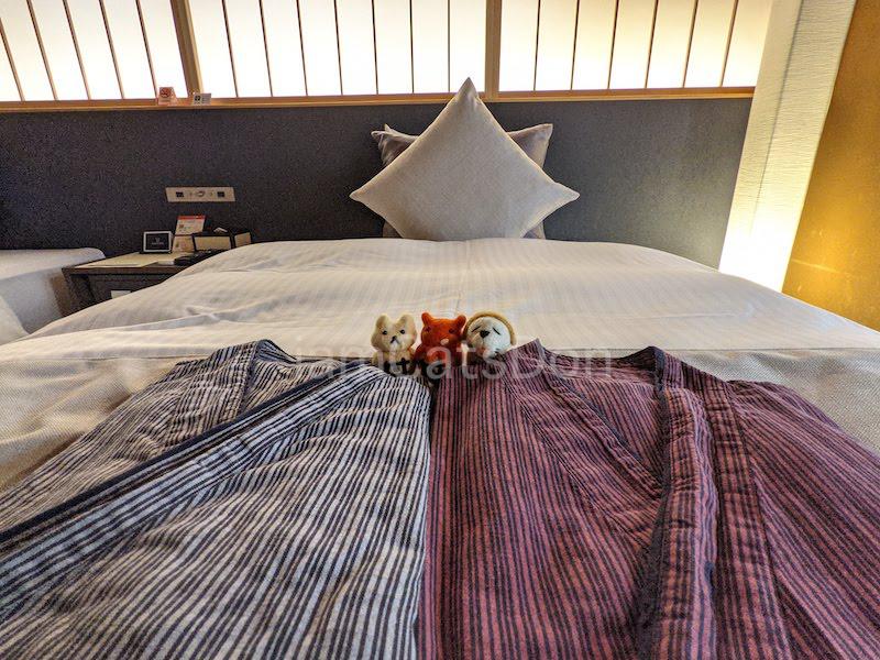 コナステイホテル KONASTAY HOTEL 伊豆長岡 古奈 ルームNo.107 ベッド 自転車と宿泊 サイクリスト