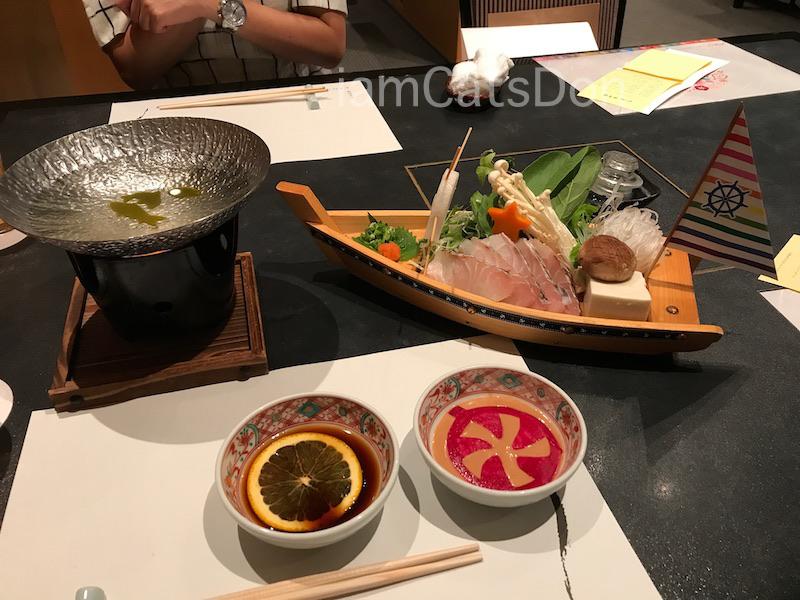 沼津 リバーサイドホテル 日本料理 かの川 ラブライブ!サンシャイン!!コラボ企画「九つ星夢御膳」夕食 CYaRon! 鯛しゃぶ