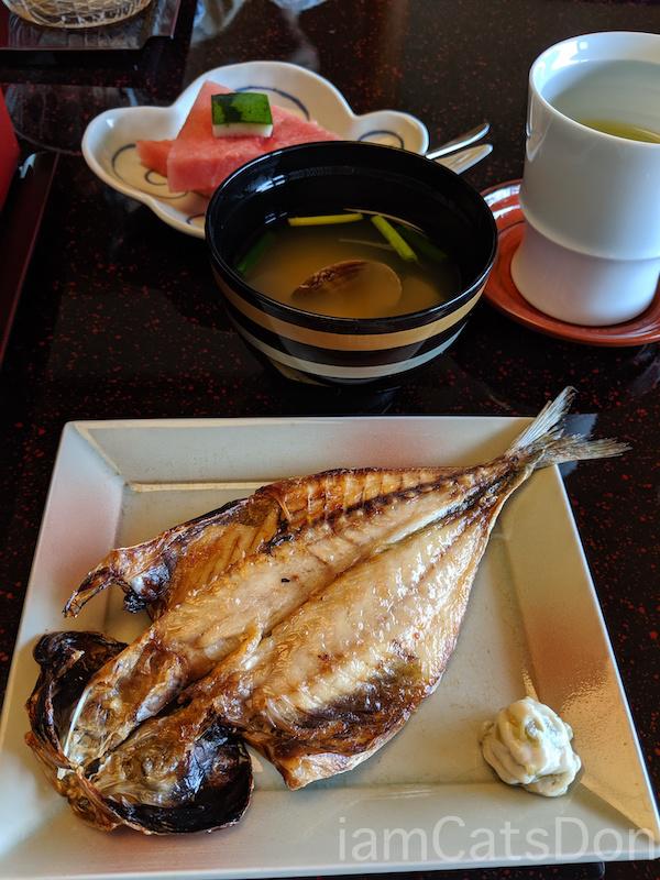 松濤館 沼津 三津浜1泊2食付 おもてなし料理プラン 基本コース 20190601-02 朝食 あじの干物