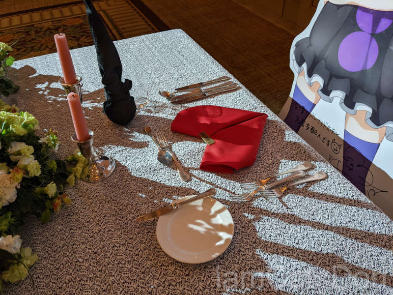リバーサイドホテル 沼津 2021ヨハネバースデー記念スペシャルディナー 津島善子 名誉支配人名札 ディナーテーブル