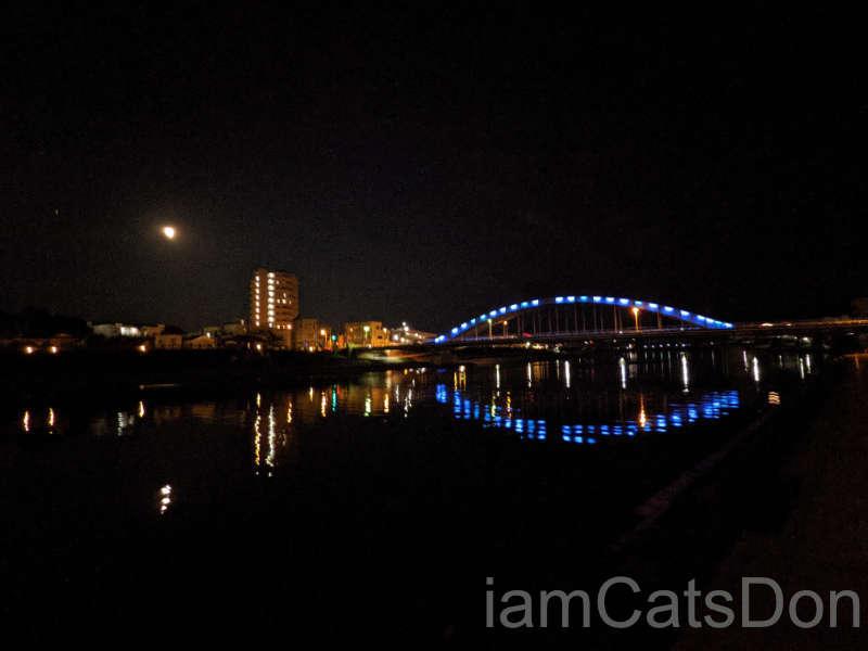 リバーサイドホテル 沼津 裏 狩野川 夜景 御成橋と月
