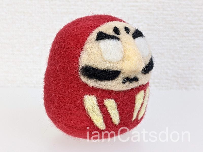 羊毛フェルト ダルマ 完成例(斜め前)