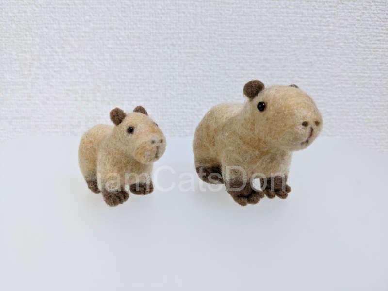 羊毛フェルト ハマナカ アクレーヌ キット ニードルでつくるカピパラ H441-563 作ってみた 左から
