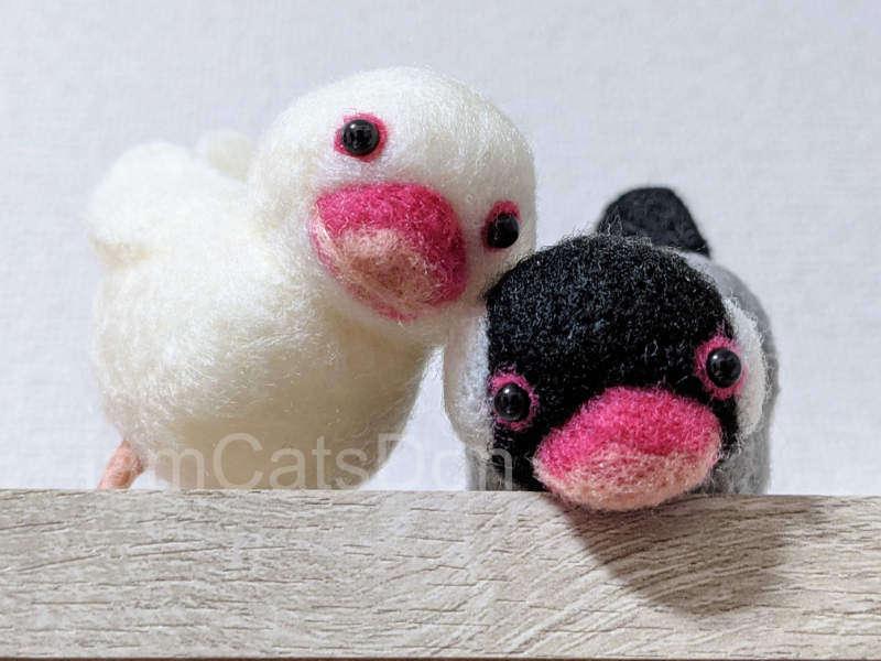 ハマナカ ニードルフェルトキット H441-526 アクレーヌでつくる 桜文鳥と白文鳥 作ってみた 仲良し